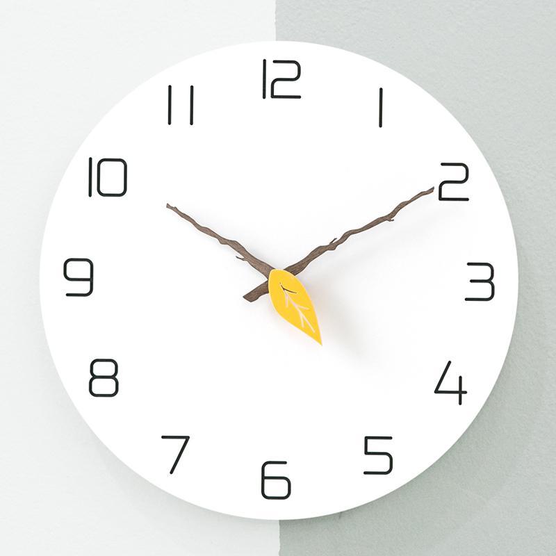 Minimaliste nordique horloge mur en bois salon cuisine atmosphère créative aiguille montres chambre décor à la maison horloge murale C5T070