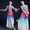 2016 do sexo feminino novo folk traje trajes dança do leque de dança clássica dança do guarda-chuva guarda-chuva de dança palco vestido de verão