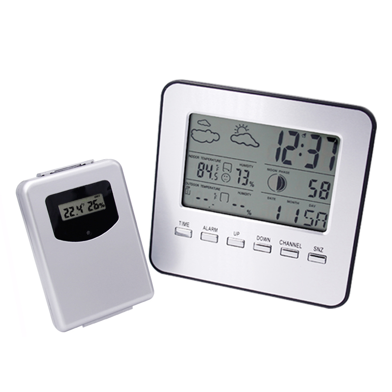 Wireless Thermometer Hygrometer Weather Station Digital Indoor/Outdoor Temperature Humidity Meter Date Alarm Clock 30%OFF