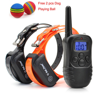 petrainer-waterproof-rechargeable-remote-blue-lcd-electric-dog-training-shock-collar-for-1-or-2-dog-free-2-pcs-dog-playing-ball