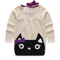 Free Shipping Kids Children Baby Girls Bow Kitty Sweater Dress Baby Girls Kitty Dress For 1