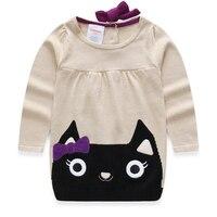 Free Shipping Kids Children Baby Girls Bow Kitty Sweater Dress Baby Girls Kitty Dress For 1