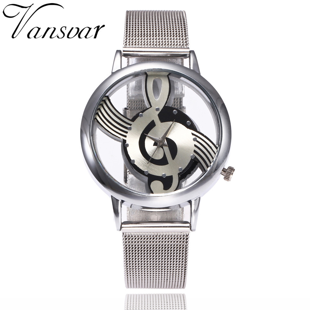 Stainless Steel Women Watches Musical Note Round Dial Ladies Watch Analog Quartz WristWatches Clock Creative Relogio Feminino #W