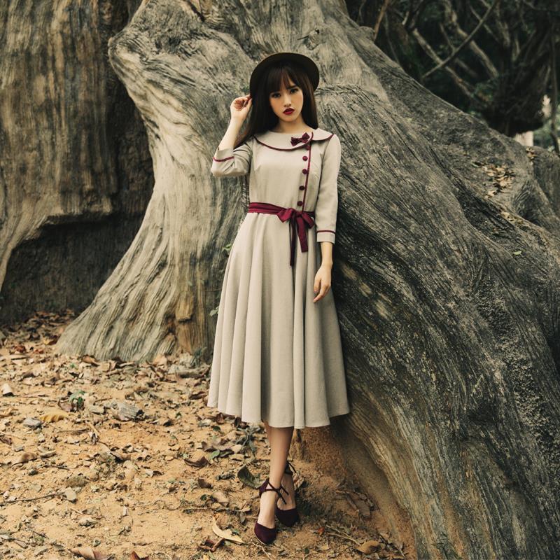 2019 printemps nouveau Slim art marque de mode robe col claudine avec bouton papillon arc rétro robe wj772 livraison gratuite