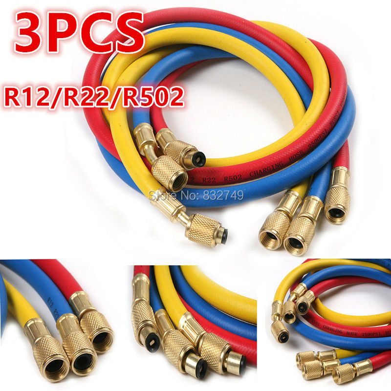 Universal 3Pcs R12 R22 R502 Automobile Air Conditioner Refrigerant Three-color Charging Hose клаксон oem 12v 3 22 air raid