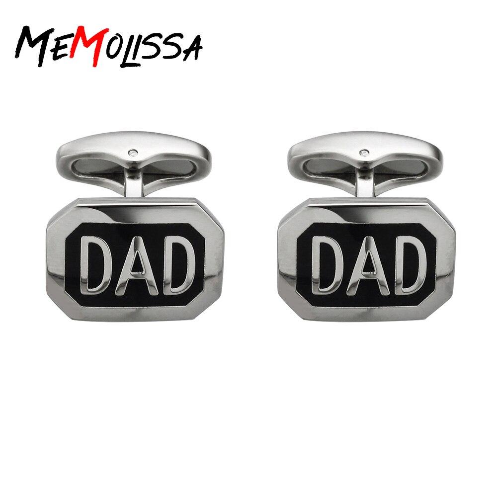 MeMolissa Enamel Black Dad Cufflinks For Father's Day Gemelos Para Hombre Camisa Gemelos Cuff Links