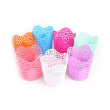 1 Pc Organizer Hollow Rose Bloem Pen Case Potlood Stand Container Stationaire Studie Ronde Pen Houders(China)