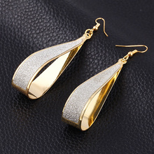 Фотография Scrub Water Drop Earrings For Women Silver Gold Plated Long Earring Jewelry Accessory Vintage Punk Exaggeration Dangle Eardrop