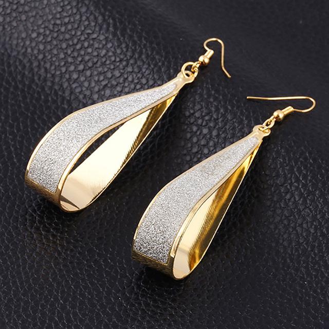 Scrub Water Drop Earrings For Women Silver Gold Plated Long Earring Jewelry Accessory Vintage Punk Exaggeration Dangle Eardrop