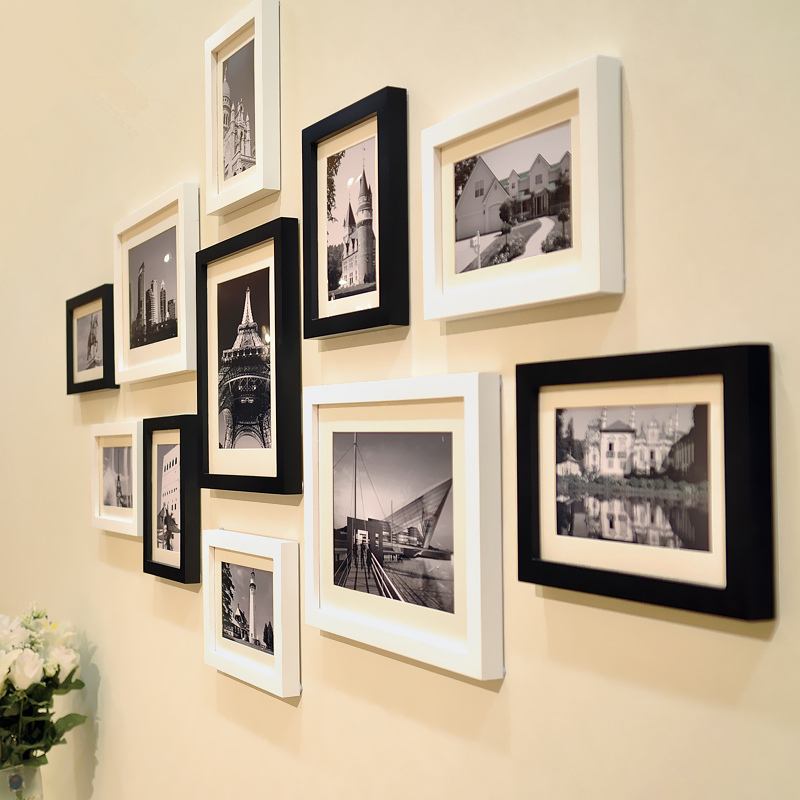 11Pcs Modern Classic White Black Frames Set for Home Decor Wall Photo Frames Combination Family Picture