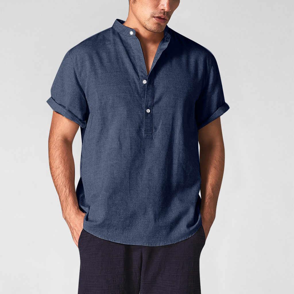 男性綿リネンシャツカジュアルシャツ V ネックボタン通気性プルオーバー夏の摩耗シャツロールアップクールグリーンカーキトップス
