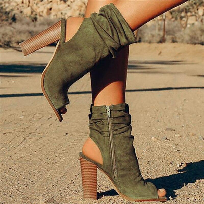 Sandalia verde Señoras marrón Rebaño Pescado Femenina Boca Las De Moda Tacón Zapatos Sandalias Cuadrada Negro Mujer Romano Alto Mujeres 2019 HfqRZpx