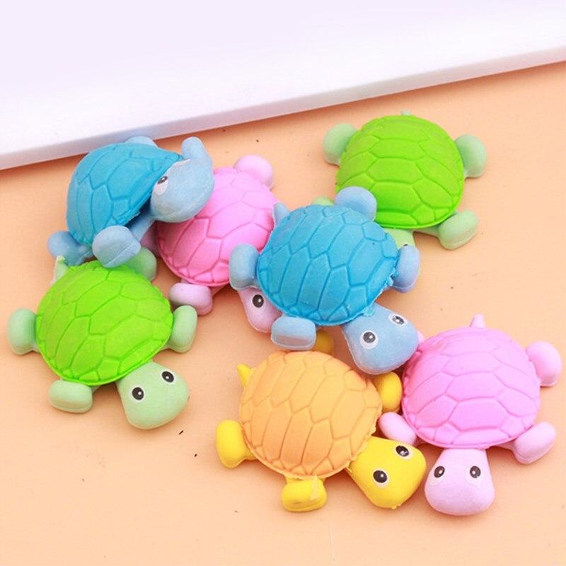 1pc Cute Animals Lovely Turtle Eraser Funny Eraser Office Study Rubber Eraser Kids Gifts School Supplies Random Color