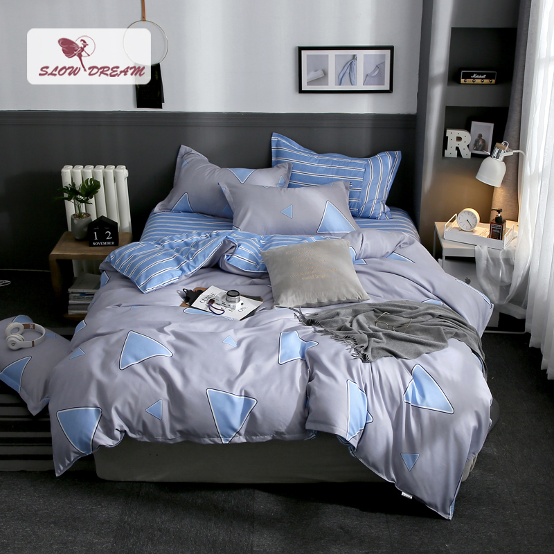 Slowdream Geometry Style Stripe Bed Flat Sheet Pillowcase Comfort Bedding Set Euro Gray Bedspread Decor Bedclothes Home Textiles