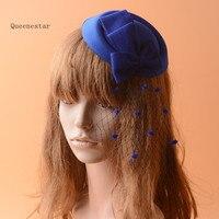 Синий Veil Mini Top Hat цветок лук чародей зажим для волос для Для женщин ручной работы Vogue шпилька для Дерби в Кентукки Свадебная вечеринка.