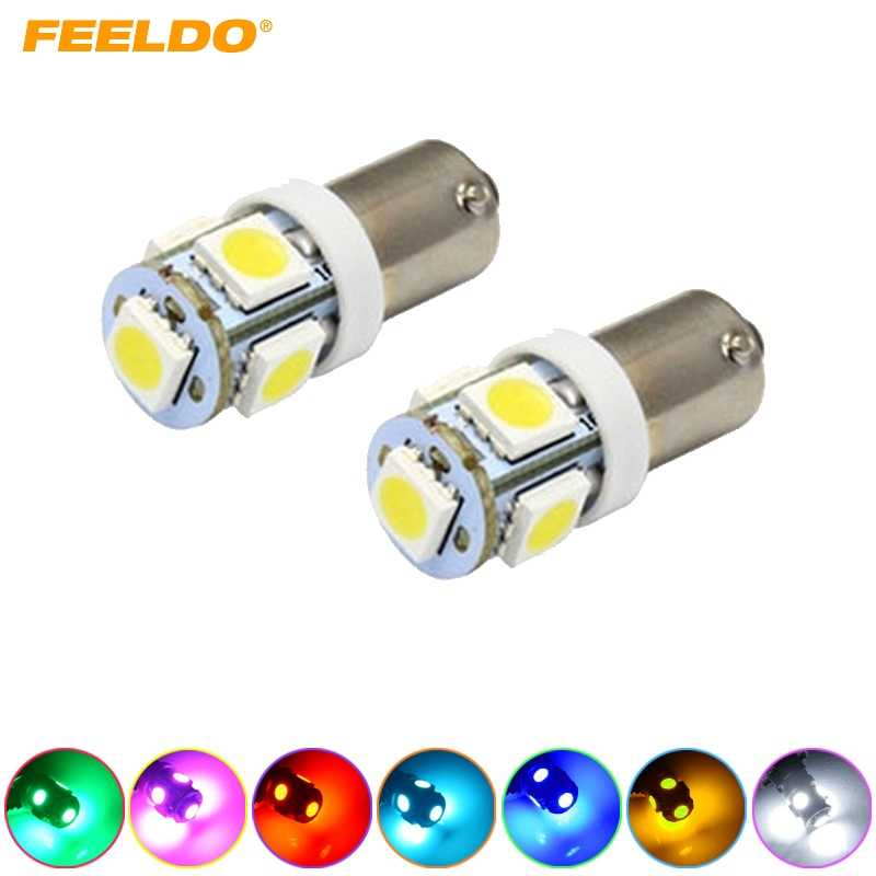 FEELDO 2 Pcs Auto Mobil BA9S 1.2 W 5050 5SMD DIPIMPIN Cahaya Plat Lampu LED putih, merah, biru, hijau, kuning, pink, biru es # AM1534