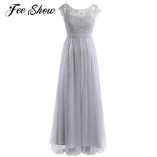 cd1f2bcc89 Moda Damas De Honra Longo Vestido Maxi Mulheres Lace Tulle Vestido De Festa  De Casamento Festa