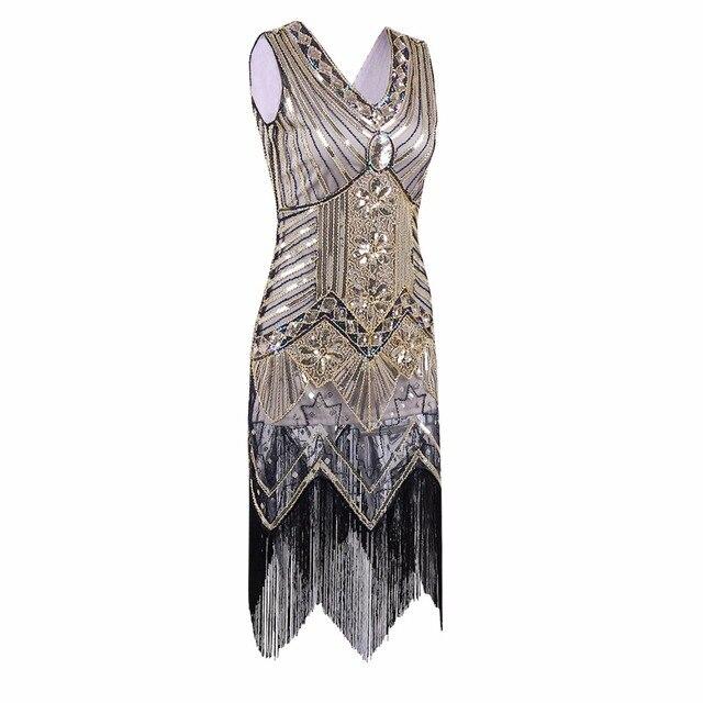Great Gatsby Dress Women Sequined V Neck Beaded Art Deco Fler 1920s Vintage
