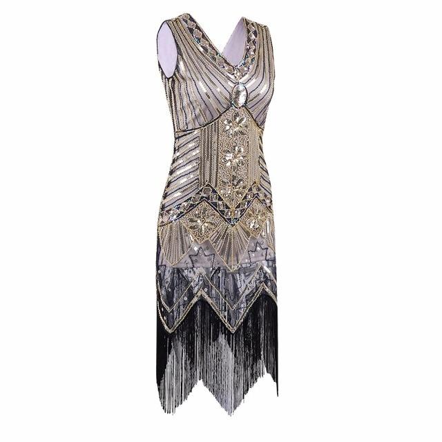 Great gatsby dress frauen pailletten dress v-ausschnitt perlen pailletten  kunst deco flapper dress 1920 05ba8feffb