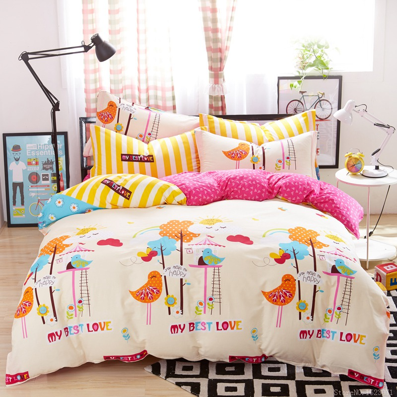 Beautiful Teen Bed Linen Part - 7: Pretty Cute Rainbow Tropical Cartoon Bedding Childrens Kids Teen Bed Linen  Sets Bedspreads Sheets Queen Bedding