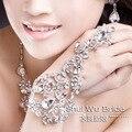 2017 frete grátis hot new vintage rhinestone real prata brilhante diamante noiva nupcial luvas do casamento do partido personalizado