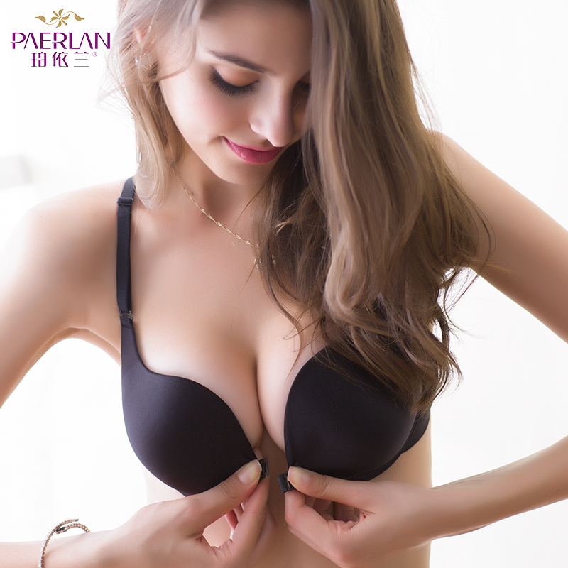 e6a03add29 PAERLAN Solid Wireless front button female bra type vest design fall glossy seamless  push up u.s.