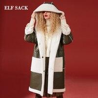 ELF SACK/зимняя новая теплая Женская куртка из искусственного меха, длинное женское пальто с воротником стойкой, женское плотное теплое женско