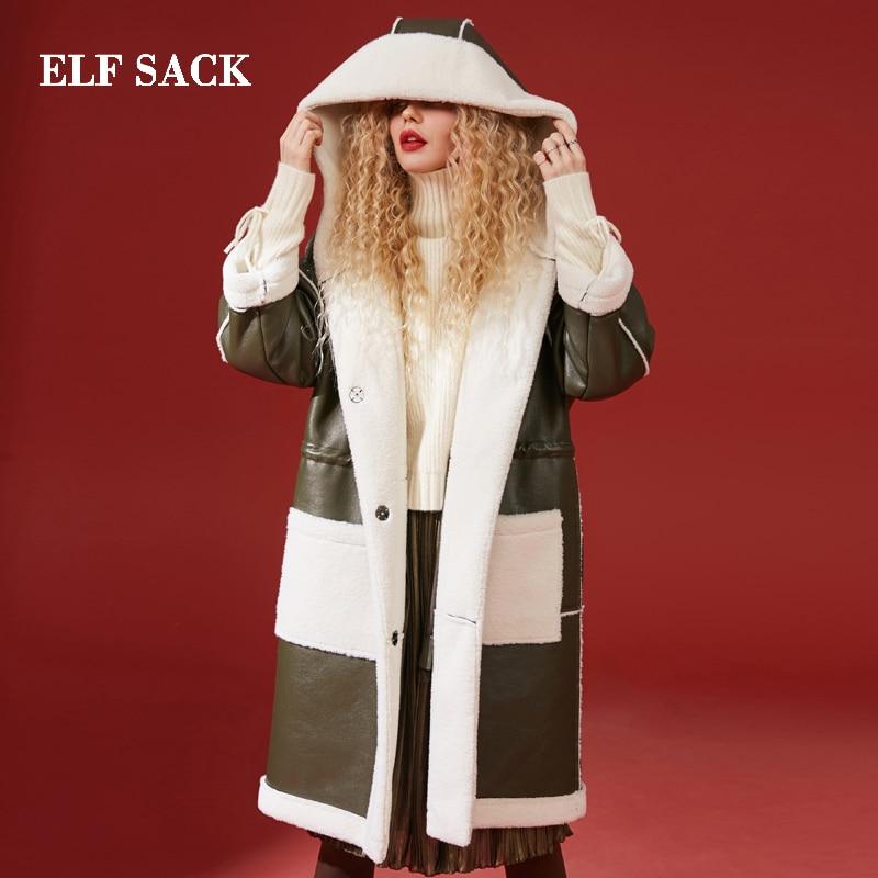 Elf sack 겨울 새로운 따뜻한 가짜 모피 여성 자 켓 전체 긴 턴 다운 칼라 여성 코트 femme 두꺼운 따뜻한 모피 코트 여성 자 켓-에서인조 퍼부터 여성 의류 의  그룹 1