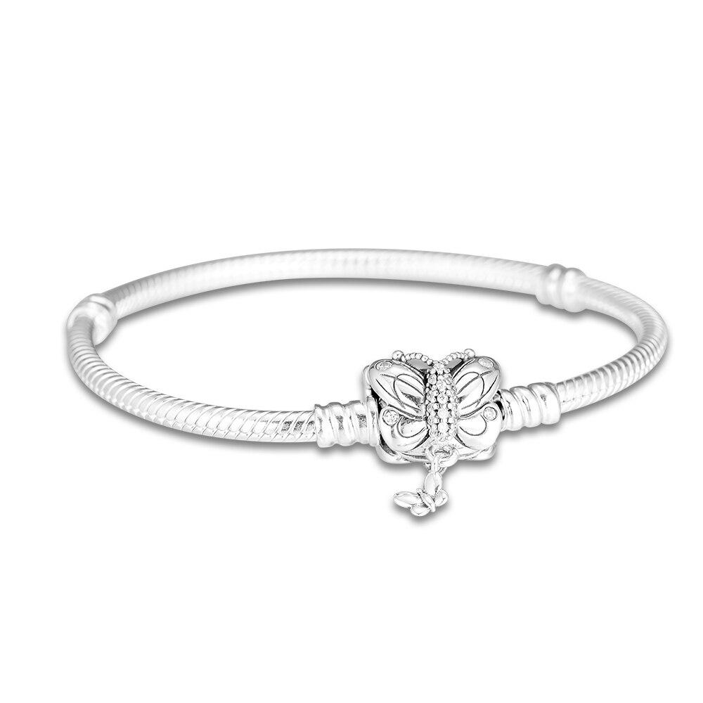 100% 925 bijoux en argent Sterling Bracelets Moments avec fermoir papillon décoratif livraison gratuite