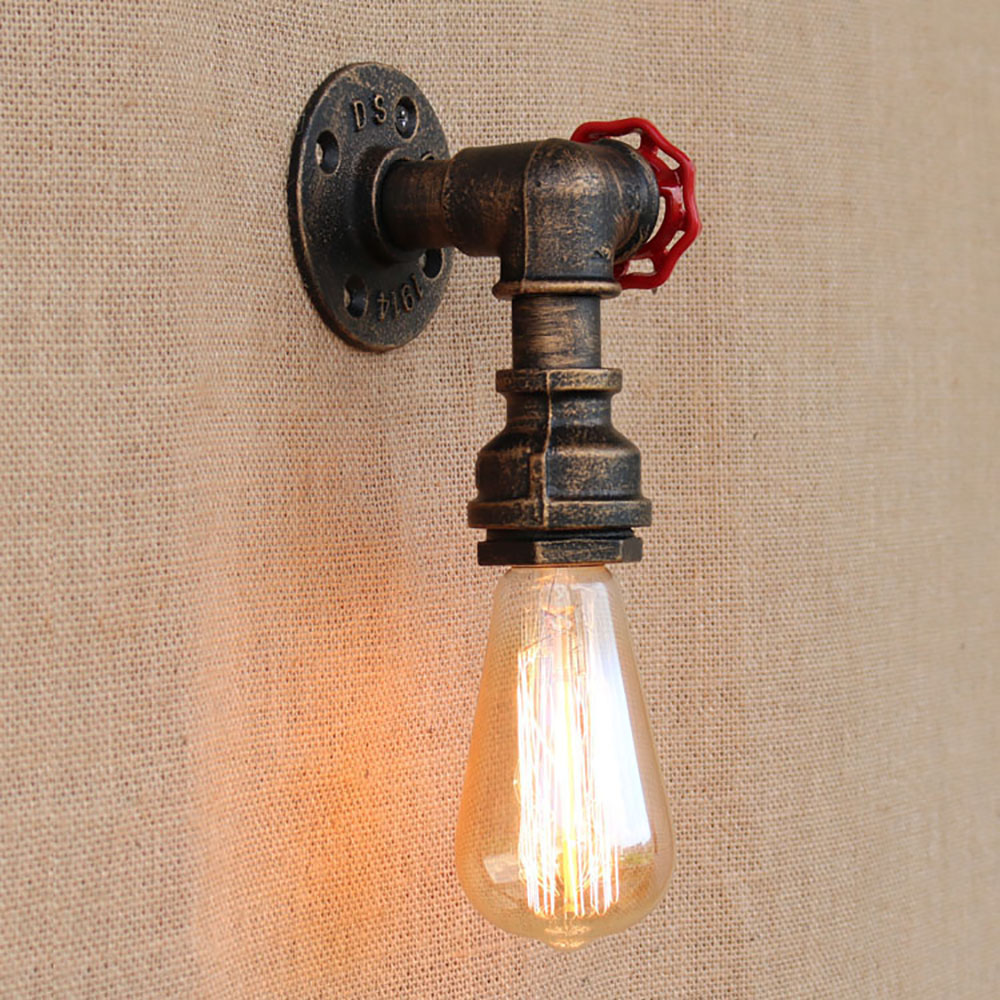 Loft Steam punk Industrial iron rust Water pipe retro wall lamp Vintage e27 sconce lights for home lighting living room bedroom black color pipe retro loft vintage iron shade wall lamp sconces industrial home lighting fixture for living room free shipping