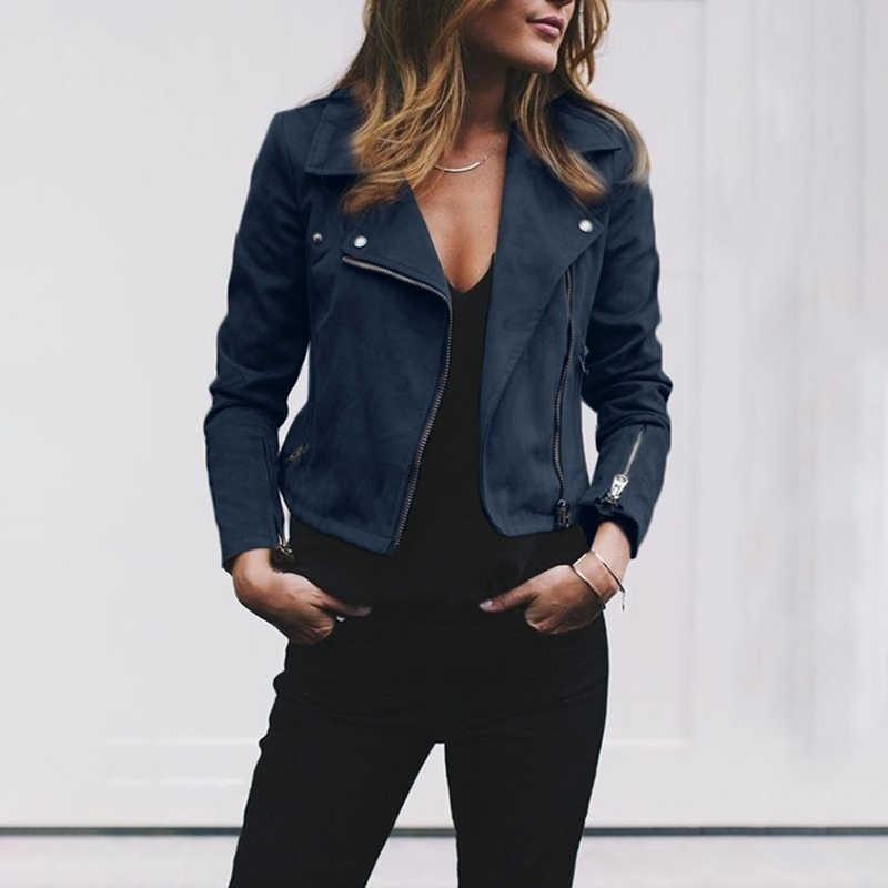 新着カジュアルヴィンテージリベットジッパーアップボンバージャケット女性コート生き抜く Heigh 品質ショートジャケット女性の秋のファッション