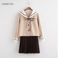 LANSHITINA New School Uniform Set For Girls Student Uniform Tie Sailor Suit Sets Schoolgirl Costume Uniform S M L XL 2XL