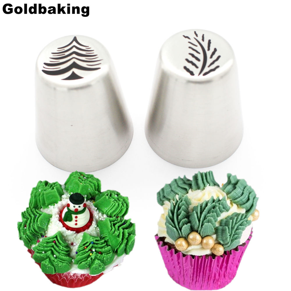 2 Pieces Christmas Tree Icing Piping Tips Special Russian