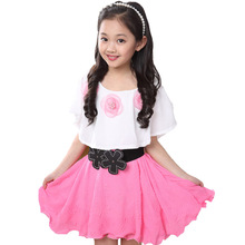 Summer 2015 New Casual Cotton Lace Girl Dress  Baby Girls Clothes Flowers Girl Print Dresses Vestido Infantil Kids Clothes