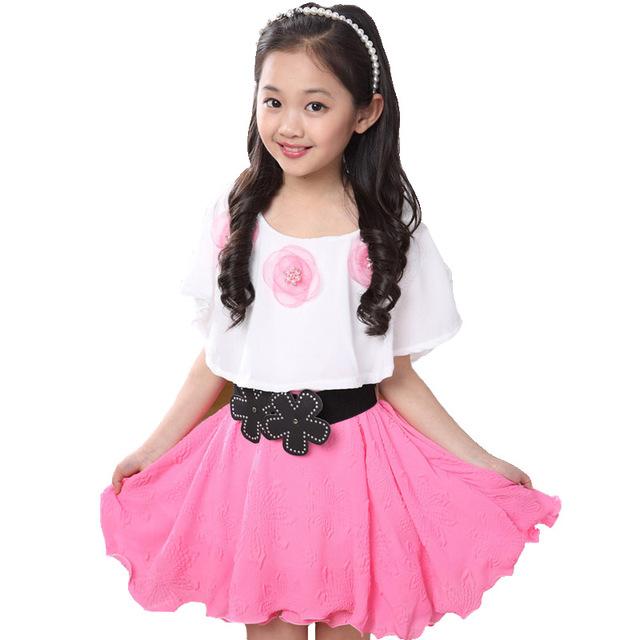 Verão 2016 New Casual Cotton Lace Bebê Meninas Vestido Da Menina Roupas Vestidos de Flores Impressão Menina Vestido Infantil Crianças Vestido de Roupas