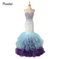 Real Luxury Crystal Colorful Quinceanera Dresses Mermaid Prom Dress Lace Up Back 15 years Party Dress Vestido de 15 anos QD01