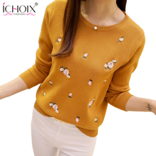 ICHOIX 2017 New Women Winter Autumn Sweaters Flower Print Harajuku Pullovers Long Sleeve Ladies Casual Fashion Kintted Tops