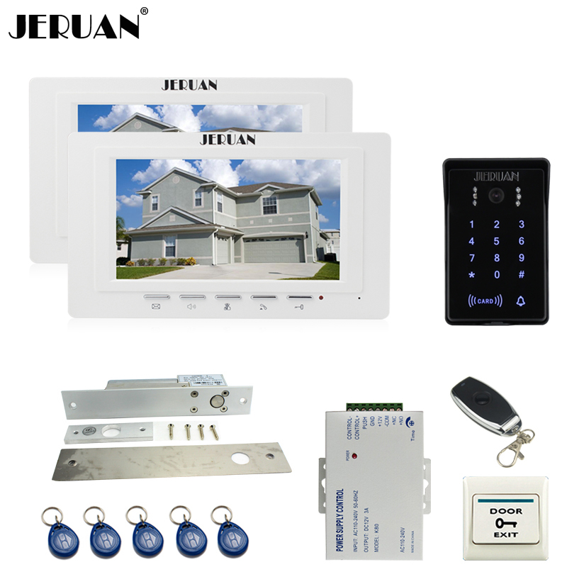 JERUAN white 7`` Video Intercom Video Door Phone System 2 new monitor RFID Waterproof Touch key Camera+Remote control Unlocked jeruan apartment 4 3 video door phone intercom system kit 2 monitor hd camera rfid entry access control 2 remote control