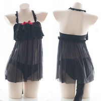 Sexy Women Cat Girl Underwear Japanese Style Black Bow Ruffle Transparent Voile Dress Hollow out Panties Tail Intimates Set