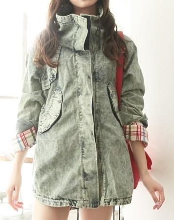 2013 women's spring street style large lapel denim coat outerwear cool denim jacket