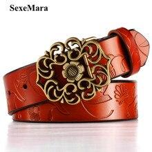 2017 Fashion Women Leather Belts Wide Vintage Floral Carved Cowskin Belts For Women Belts Cummerbunds ceinture femme