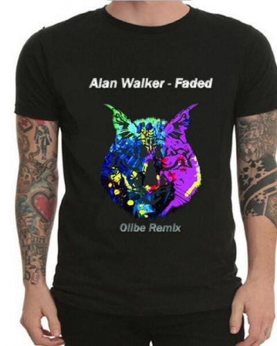 Black Gray Dj Alan Walker T Shirt For Teens Albunmm Faded Music Tee For Mens XXL