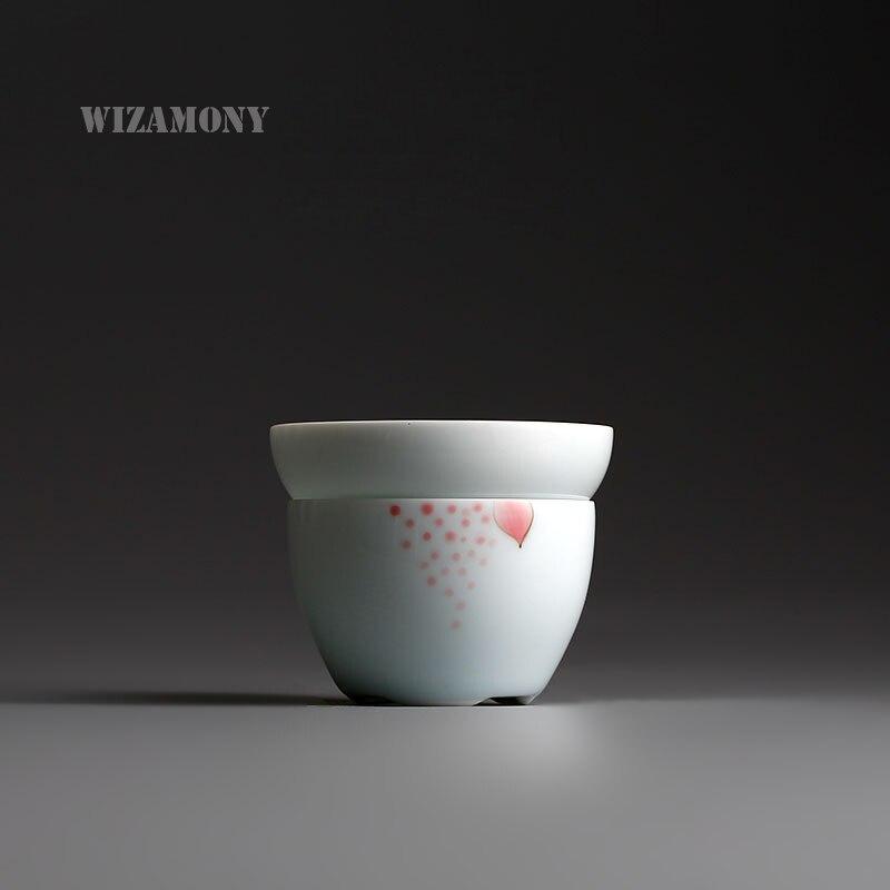 Hand Painted Lotus Tea Filter Tea Strainer Ceramic Mug chinese white porcelain Handmade Mesh Diver Infusor