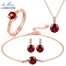 LAMOON Red Garnet 925 Sterling Silver Jewelry Sets for Women Classic Natural Red Garnet S925 Jewelry Set Anniversary Gift V014-1