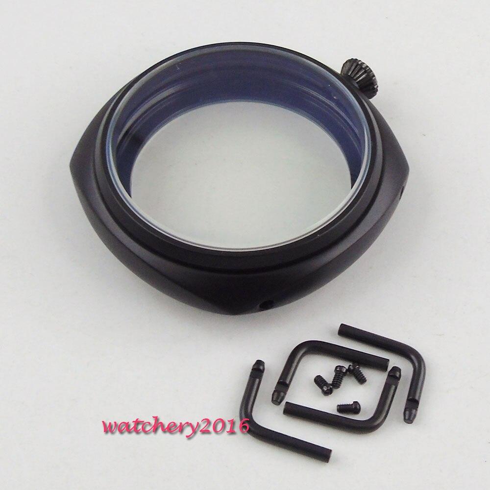 486c75e51 Caliente 45mm parnis aguja de acero inoxidable PVD negro endurecido cristal  mineral fit 6497 6498 ST36 Molnija movimiento para hombre caja de reloj en  de en ...