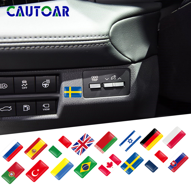 Steering Wheel 3D Decoration Brazil Sweden Israel Spain Poland Russia France National Flag Sticker Emblem Decal Car Accessories