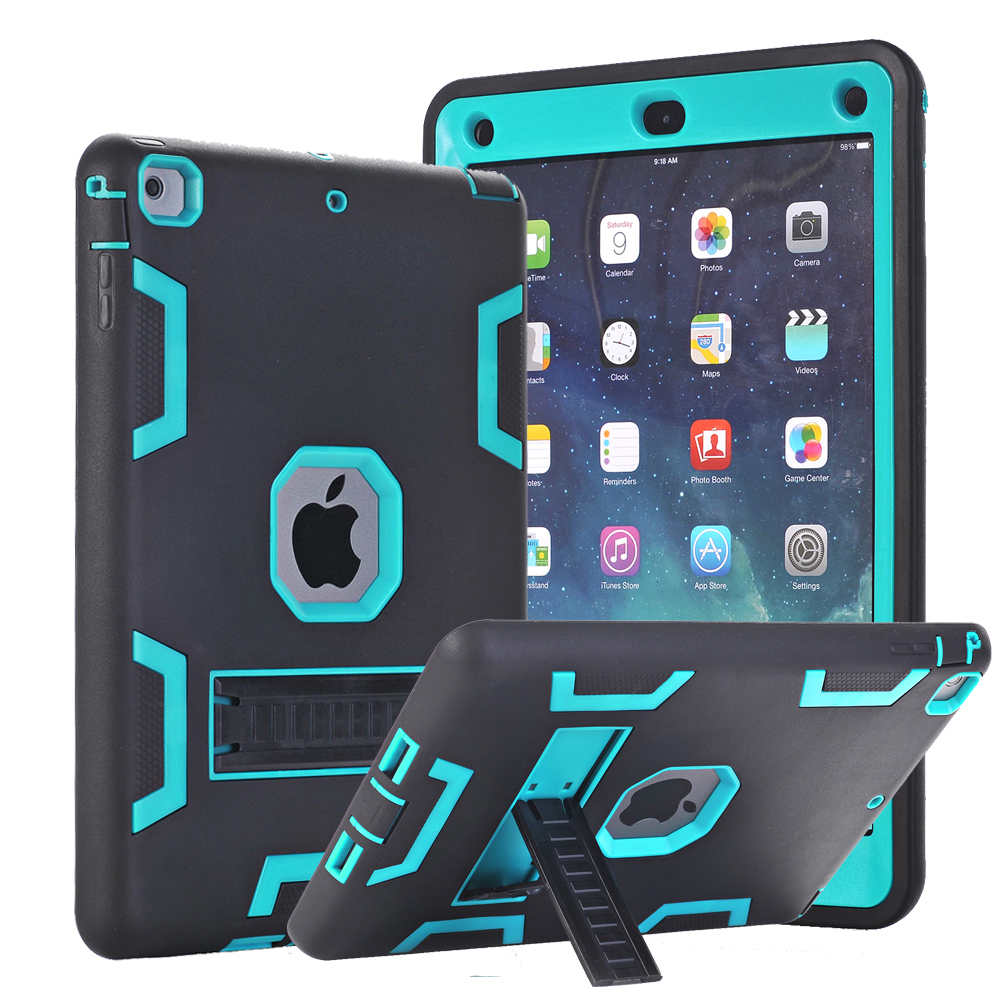 Hybrid Armor Case For iPad Air 1 Kids Safe Shockproof Heavy Duty Silicone Rubber Hard Case Cover w/Screen Film & Stylus Pen 2017 fashion kids silicone tablet case for apple ipad 2 3 4 armor shockproof waterproof heavy duty hard cover shell stylus film