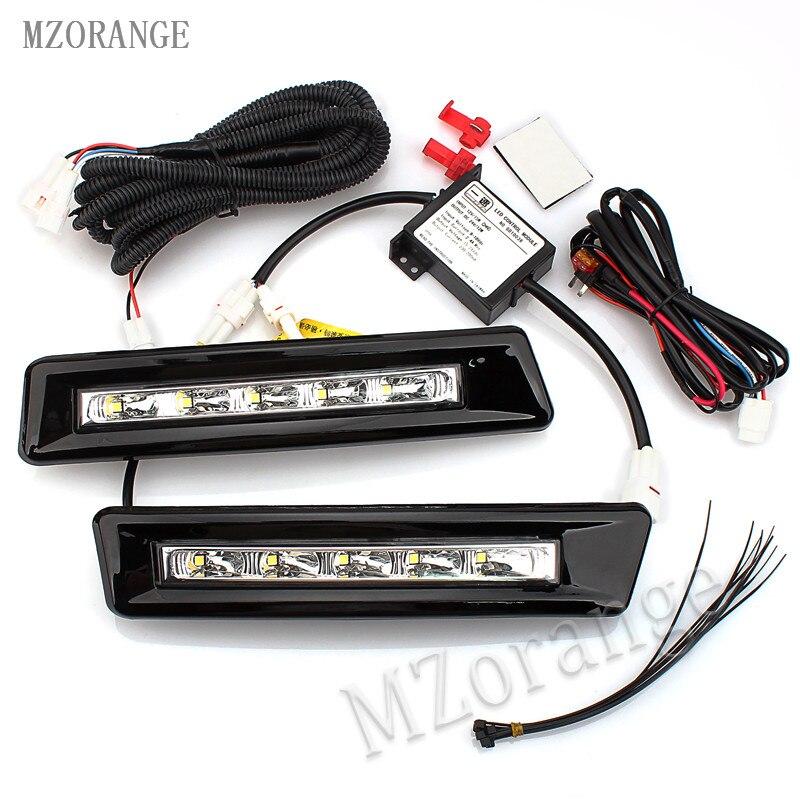 MZORANGE 1 Pair Black Excellent Aluminum LED Daytime Running Fog Light DRL For Toyota Prado LAND