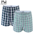 Innersy Boxer Loose Shorts Men's Panties Cotton boxer Male plus Size Underwear Plaid Underwear Long Homewear Boxer Comfortable