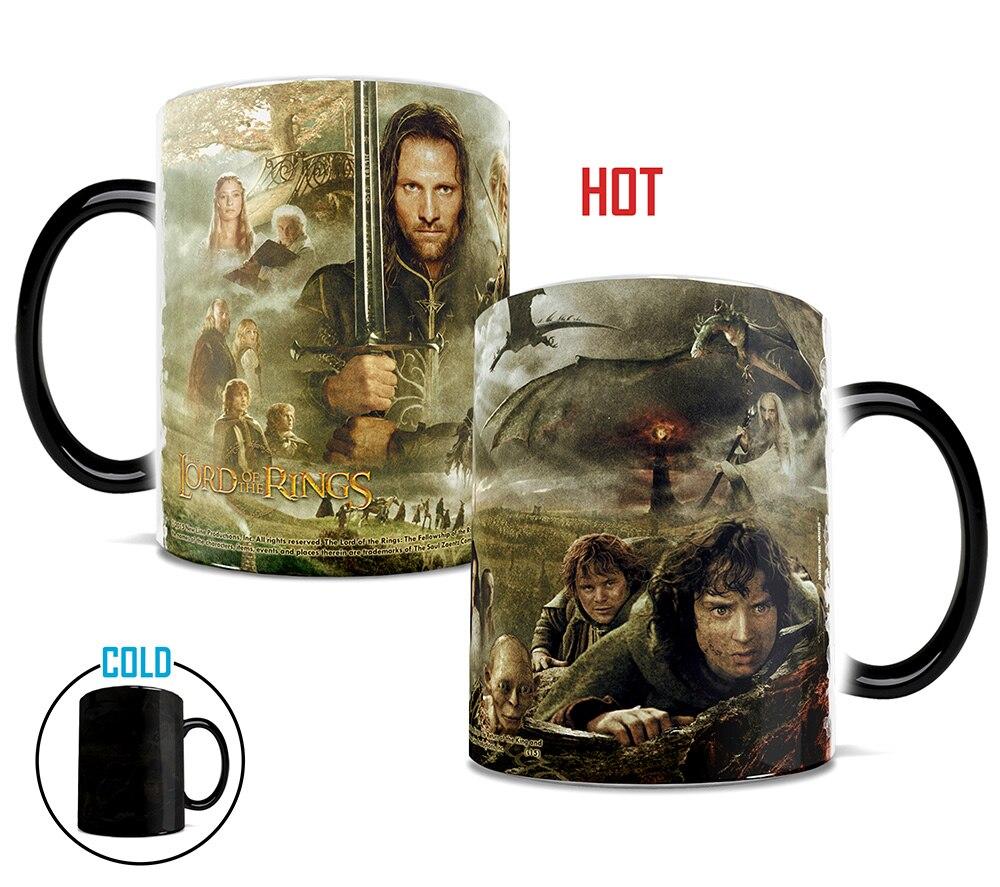 Discoloration <font><b>Cups</b></font> Ring <font><b>King</b></font> Mugs Lord <font><b>of</b></font> <font><b>The</b></font> Rings Fans Gifts Mythopoeia Ceramic Coffee Water Mugs Creative Products Hobbit